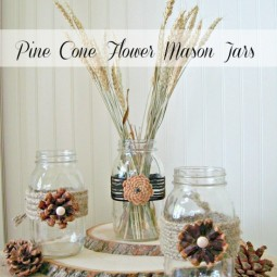 Pine cone embellished mason jars