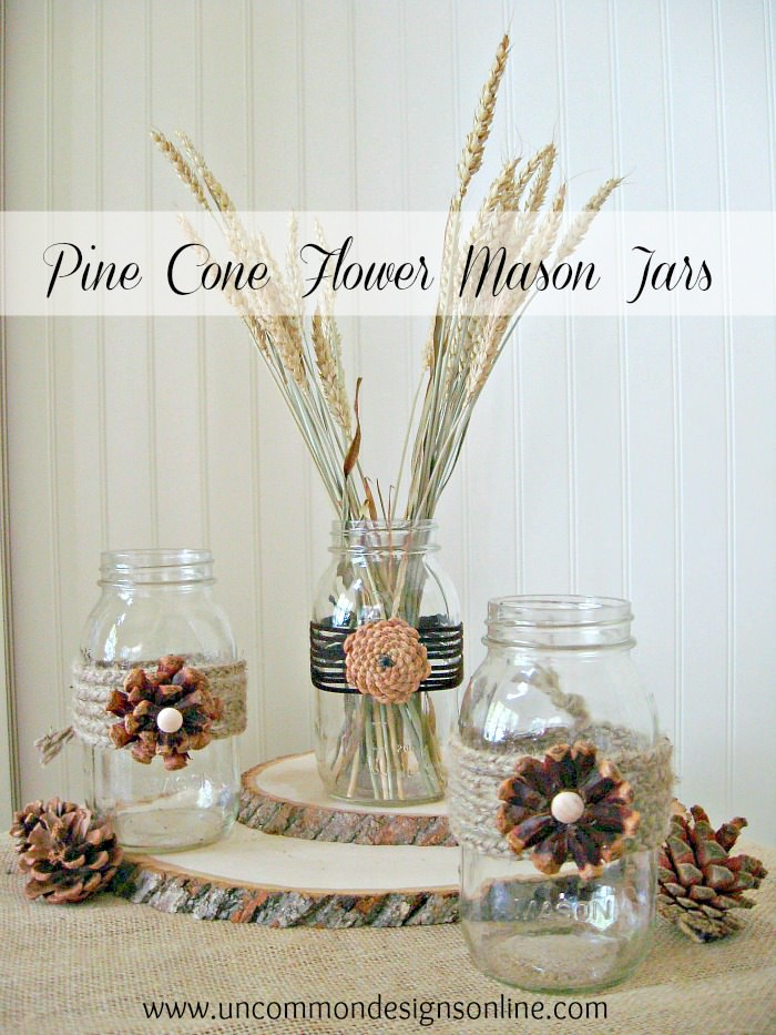 Pine cone embellished mason jars