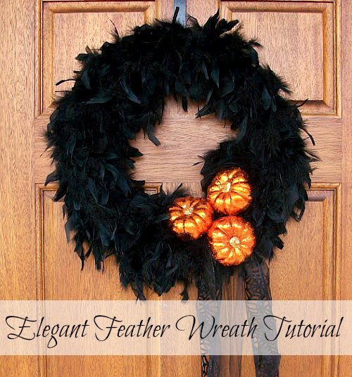Feather Boa Wreath for Halloween by Uncommon Designs