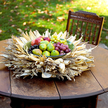 corn husk centerpiece