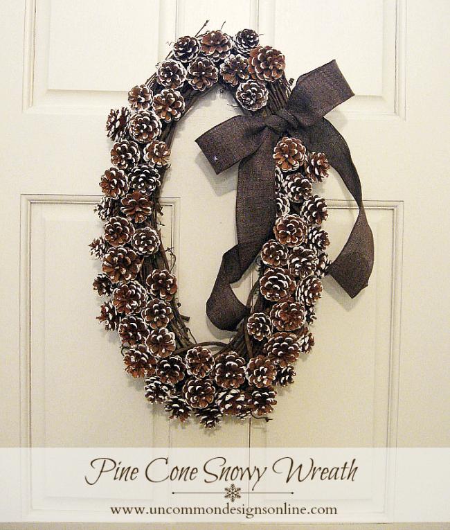 Pine Cone Snowy Wreath
