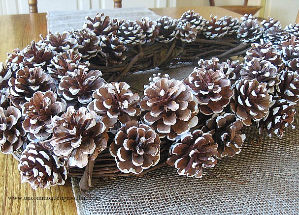pine cone snowy wreath