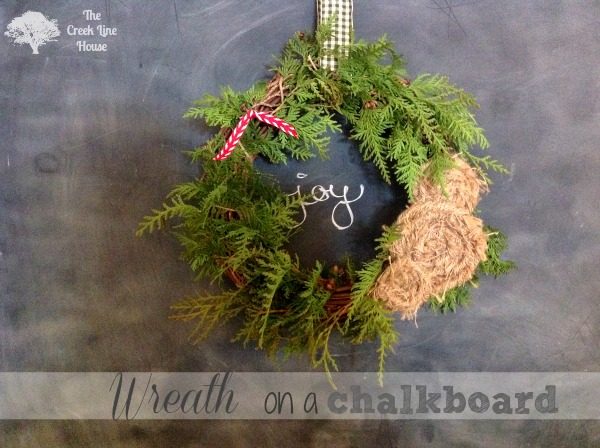 wreath on a chalkboard