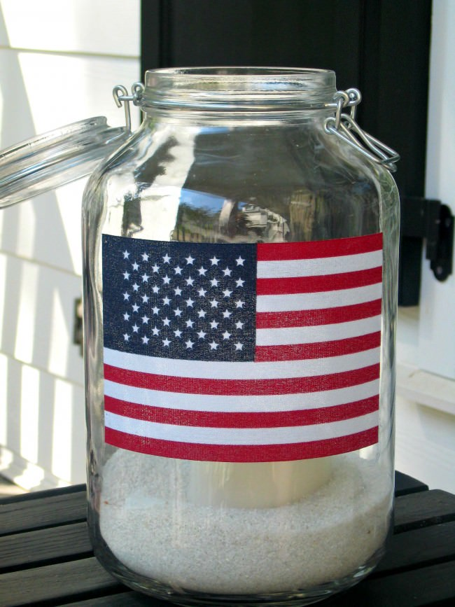 Flag Porch mason jar lantern