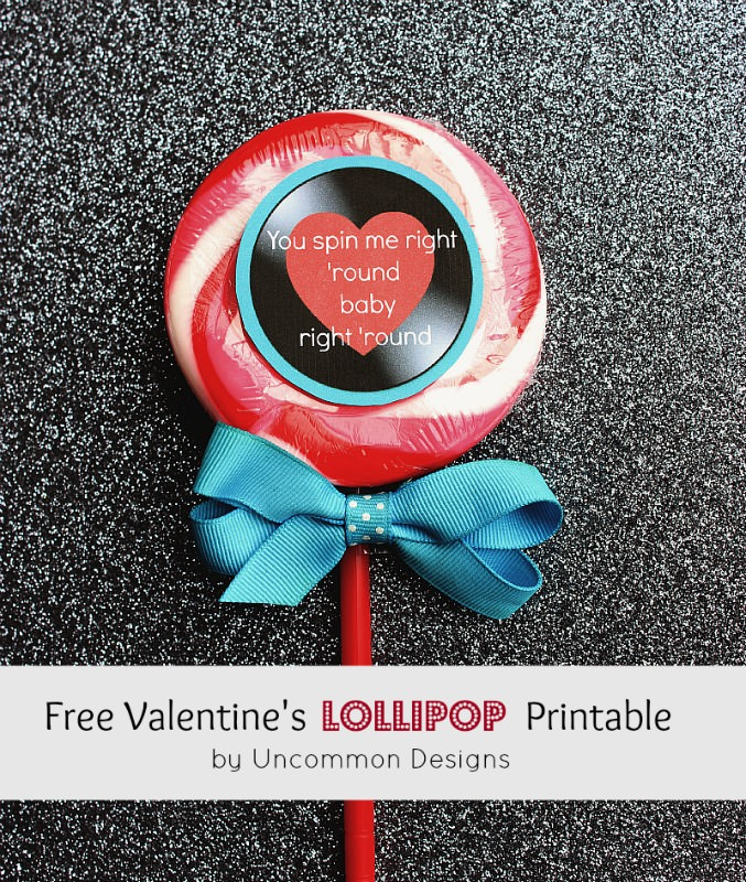 Valentine lollipop printable