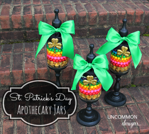 Apothecary jars for St. Patrick&#039;s Day