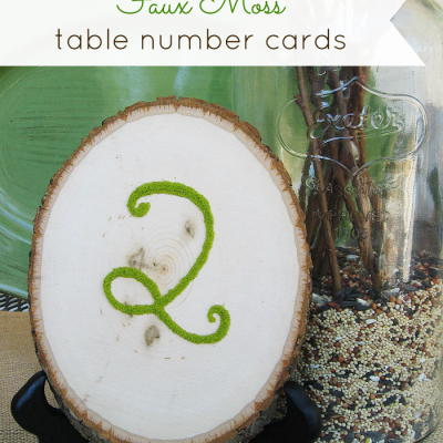 Faux Moss Table Number Cards