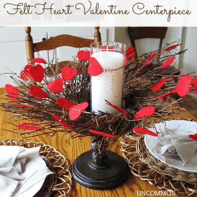 Felt Heart Valentine Centerpiece