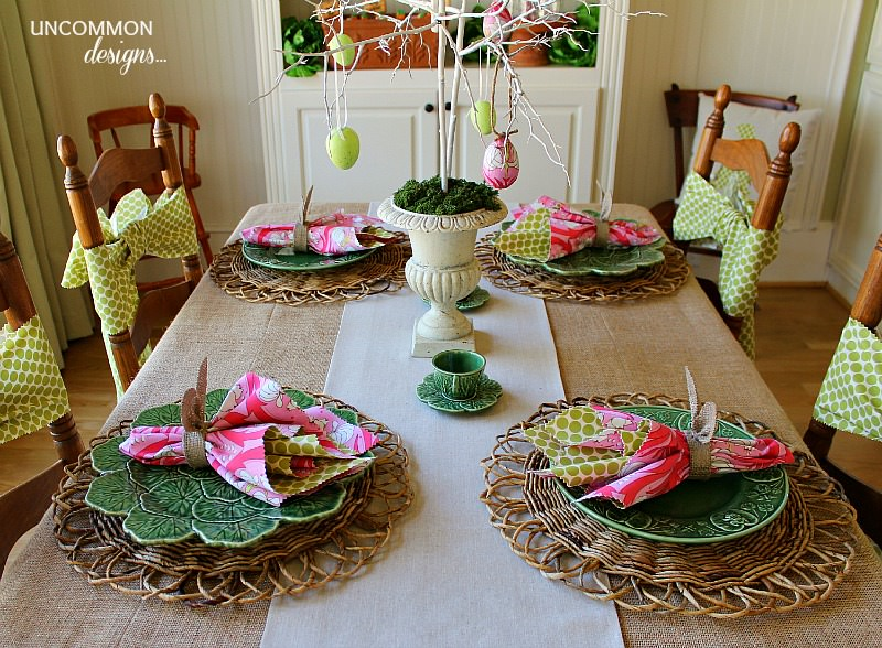 Easter tablescape bunnies and burlap uncommon designs for Easter dinner table decorating ideas