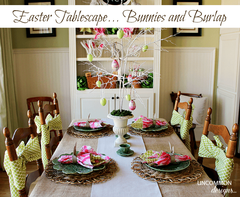 Burlap and Bunnies Tablescape