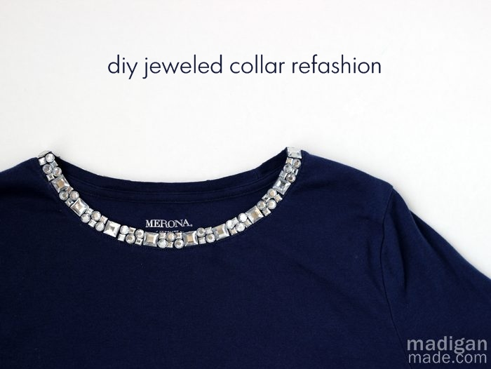 DIY Jeweled Collar Refashion