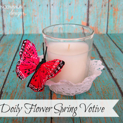 DIY Doily Flower Votive Holder