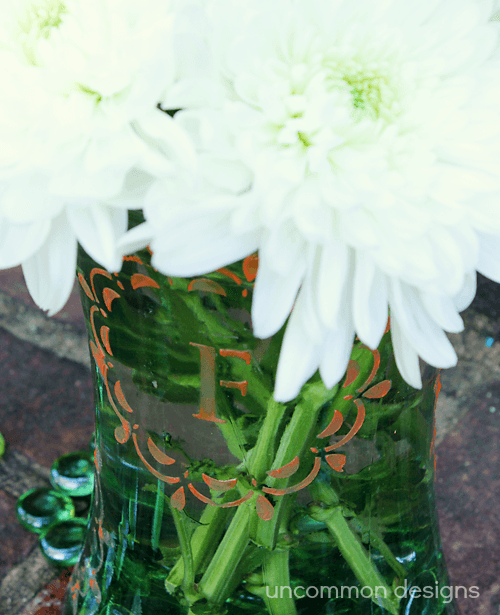 frosted glass vase monogram