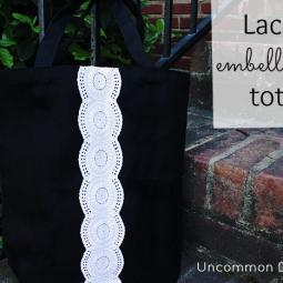 lace embellished tote bag