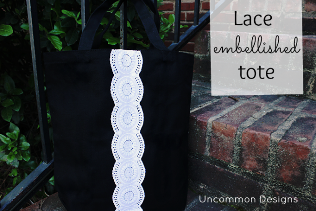 Make a lace tote bag for a gorgeous gift idea from Uncommon Designs