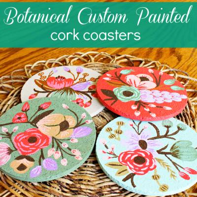 Botanical Custom Painted Cork Coasters