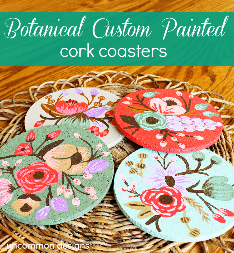 Botanical-custom-painted-cork-coasters