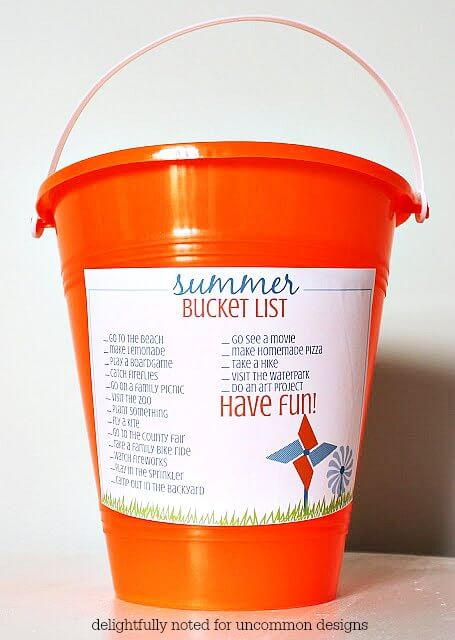 Print out this summer bucket list and great ready for some summer fun with Uncommon Designs!