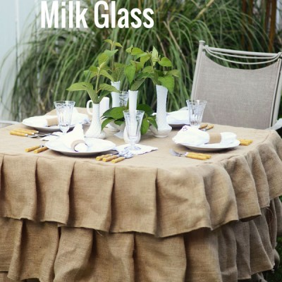 Burlap and Milk Glass Tablescape