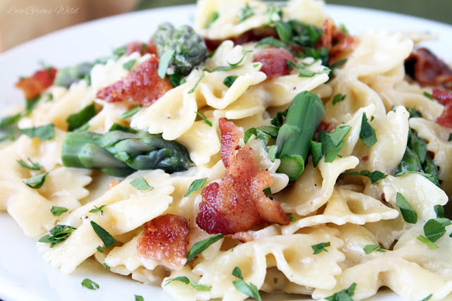 Creamy Pasta with Asparagus and Bacon - Uncommon Designs