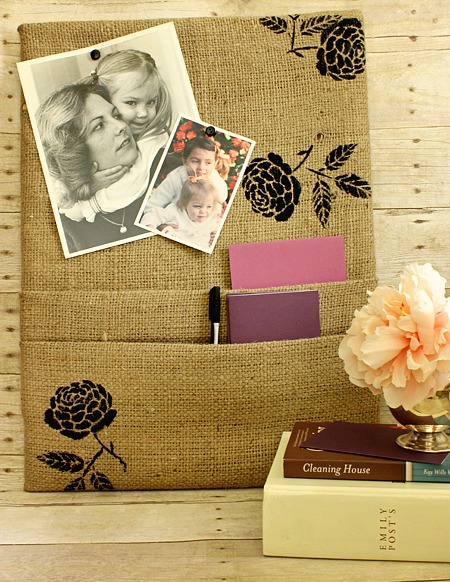 burlap covered cork board