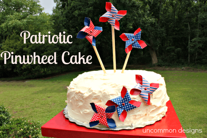 Add some pinwheels to an ordinary store bought cake to make a no-fuss fabulous fourth of july dessert!  www.uncommondesignsonline.com