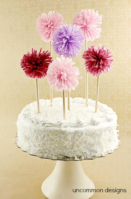 pom pom cake toppers
