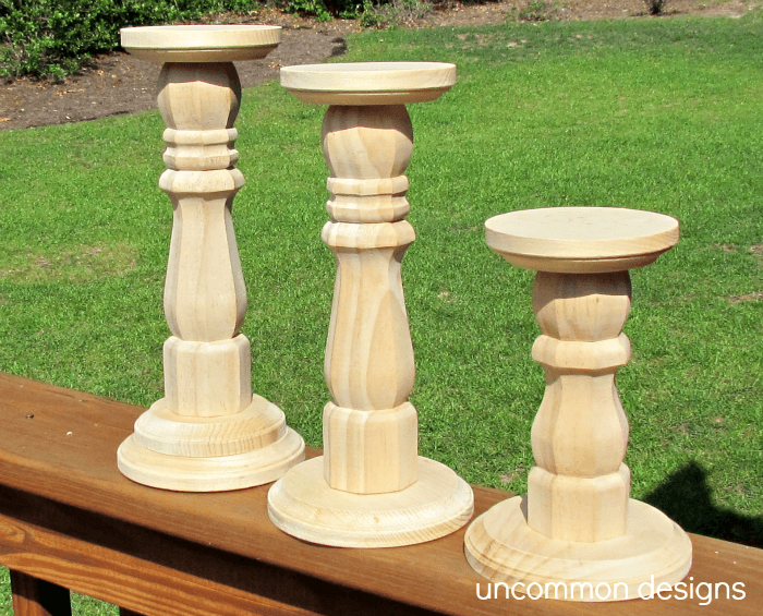 dip dyed wood candlesticks