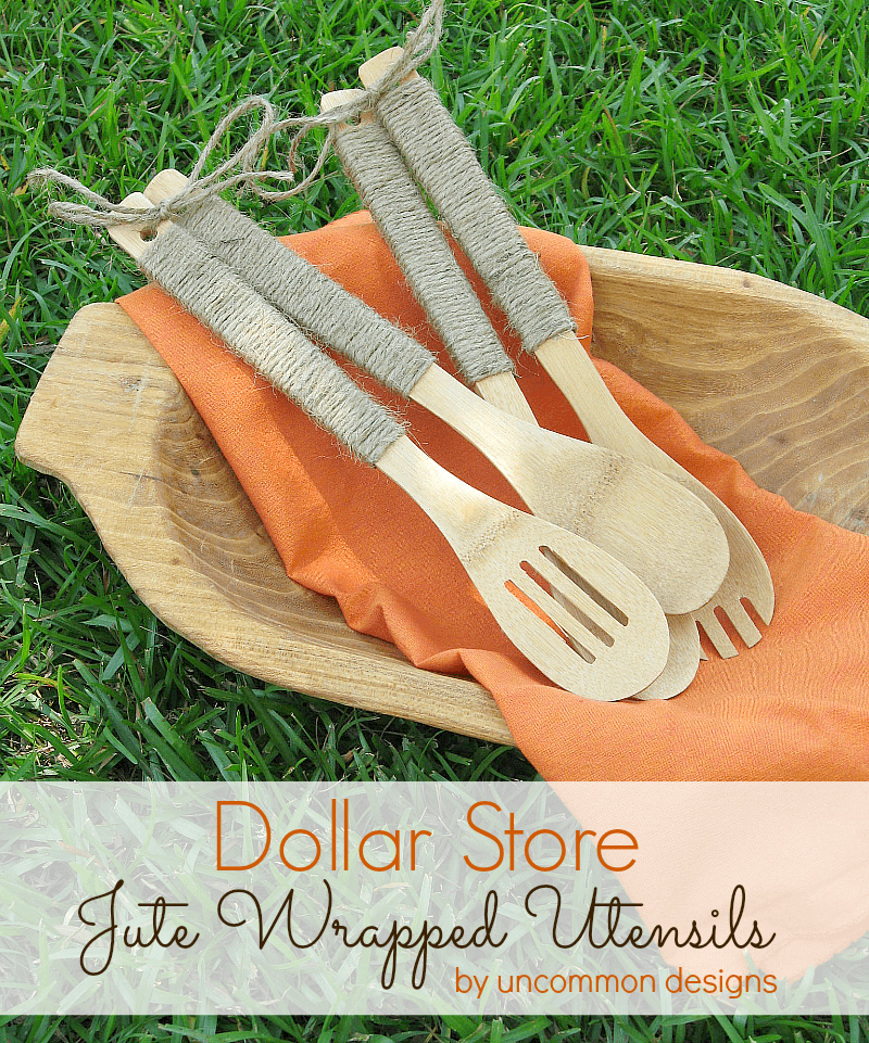 Dollar Store Jute Wraped Serving Utensils by www.uncommondesigns.com
