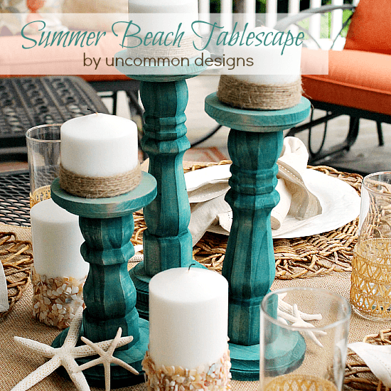 Beautiful Summer Beach Tablescape with DIY Dip Dyed Wooden Candlesticks.