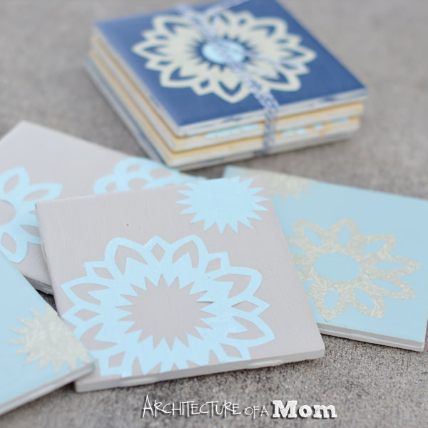 doily tile coasters