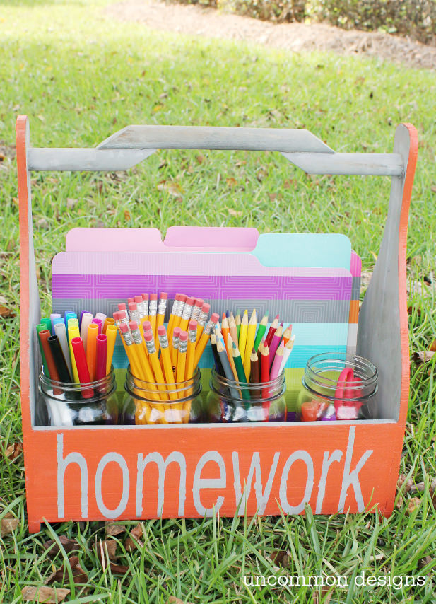 Get ready for back to school with a homework caddy!  The most dreaded part of the school day just got a little less chaotic and a lot more stylish!  via uncommon designs