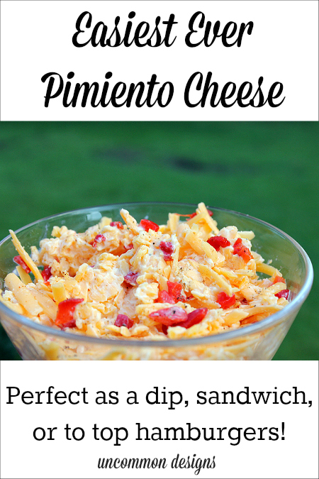 Easiest ever pimiento cheese recipe. Make as a dip, sandwiches, or top hamburgers. The perfect summer recipe! www.uncommondesignsonline.com