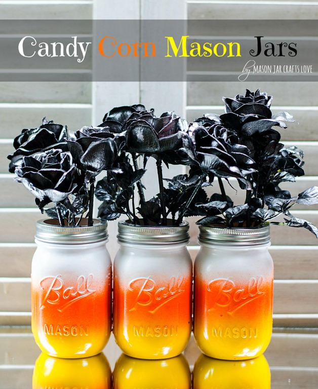 candy corn mason jars