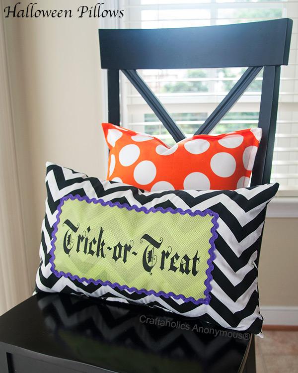 trick or treat Halloween pillow