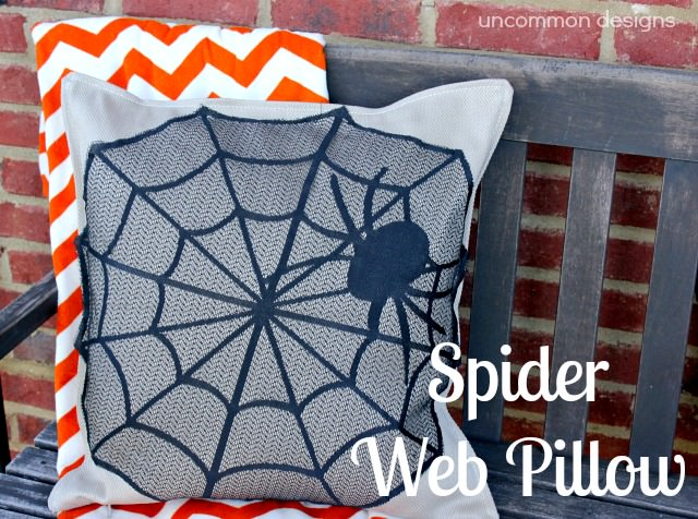 Spider Web Halloween Pillow Cover Using a Placemat