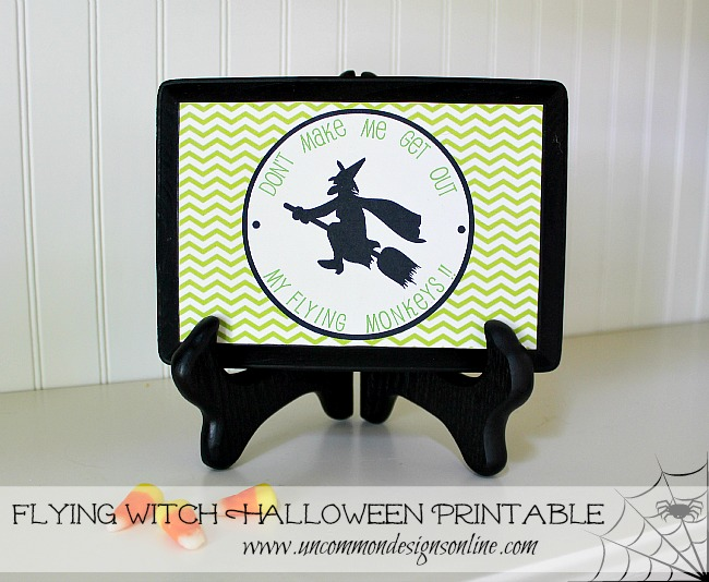 Flying Witch Free Halloween Printable ~ www.uncommondesignsonline.com