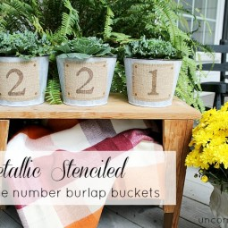 Metalic_stenciled_diy_house_number_burlap_buckets