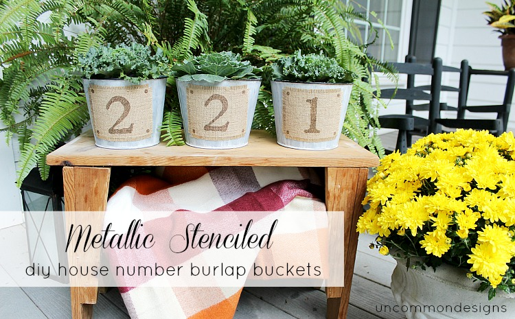 Stenciled DIY House Number buckets for fall via Uncommon Designs