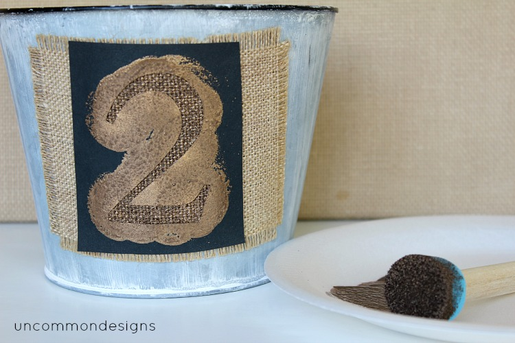 stenciled burlap via Uncommon Designs