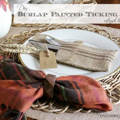 DIY Burlap Painted Ticking Stripe Utensil Holder