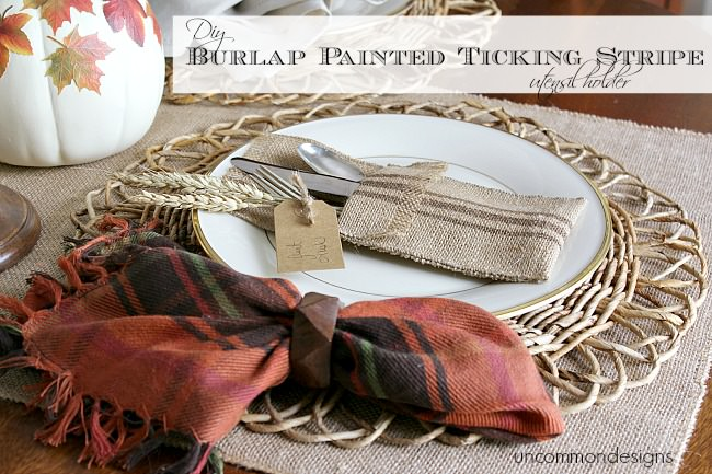 DIY Burlap Painted Ticking Stripe NO SEW Utensil Holder. Using #decoart dazzling metallics paint. via www.uncommondesignsonline.com