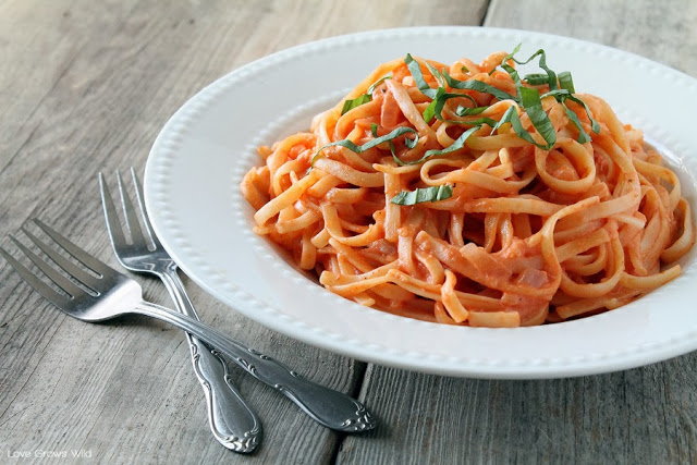 Pasta Recipe~ Pasta with Tomato Cream Sauce. A simple family dinner they will love.