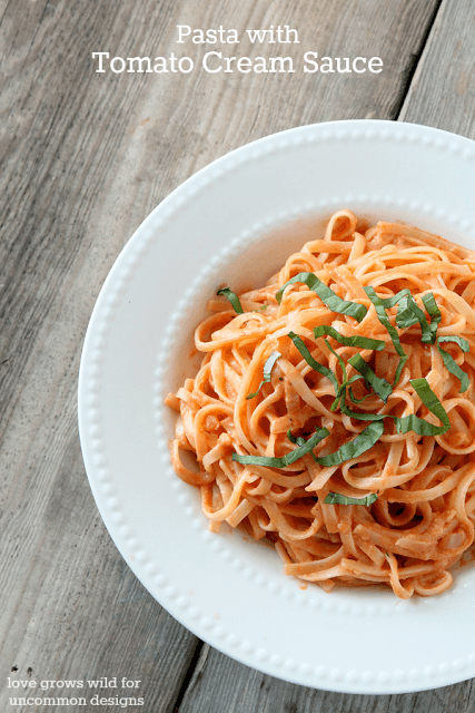 Pasta Recipe~ Pasta with Tomato Cream Sauce. A simple and easy family dinner. www.uncommondesignsonline.com