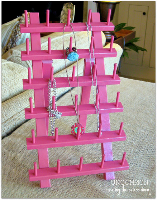 A simple DIY Jewelry Organizer from a thread rack!