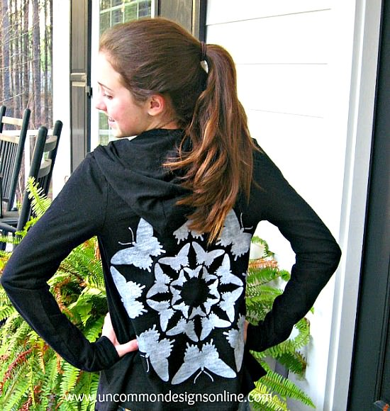 Give a plain hoodie a beautiful upgrade with this stencil refashion.