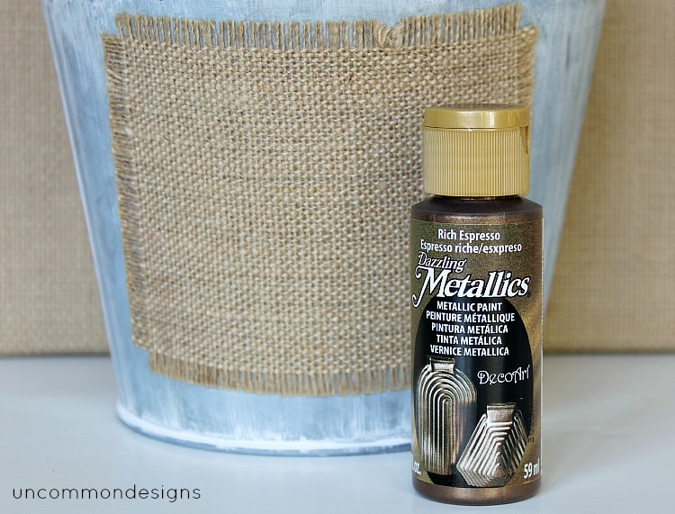 Metallic stenciled buckets via Uncommon Designs