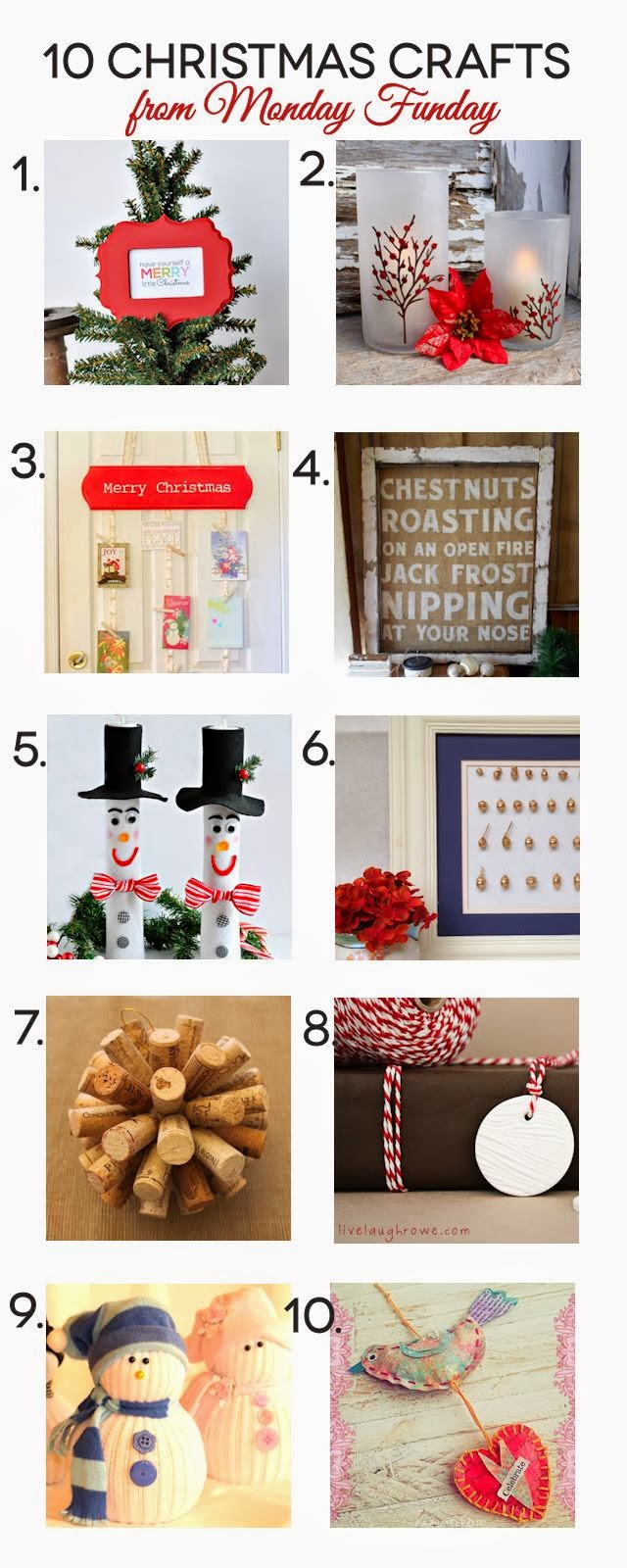 10 Amazing Christmas Crafts from the Monday Funday Link Party. Party starts each Sunday night at 7pm EST. All links are on 6 blogs! via www.uncommondesignsonline.com
