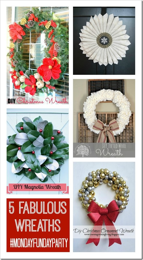 5 Christmas Wreaths from Monday Funday