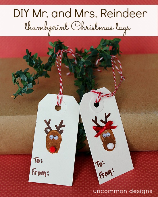 DIY Mr. and Mrs. Reindeer Thumbprint Tags via www.uncommondesignsonline.com #kidscrafts #christmas #giftwraping